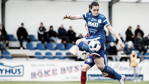 Marija Banusic in action for Eskilstuna United. Photo: http://svenskfotboll.se/