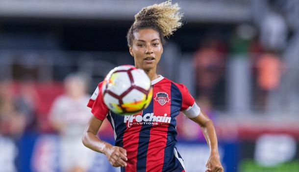 Estelle Johnson was one of three players traded from Washington to Sky Blue this offseason (photo via washingtonspirit.com)
