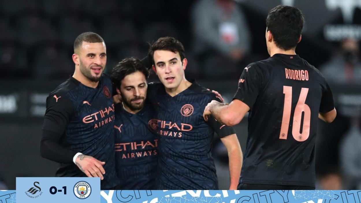 Bernardo, García y Rodri, celebrando el gol de Kyle Walker. | Fuente: @ManCity
