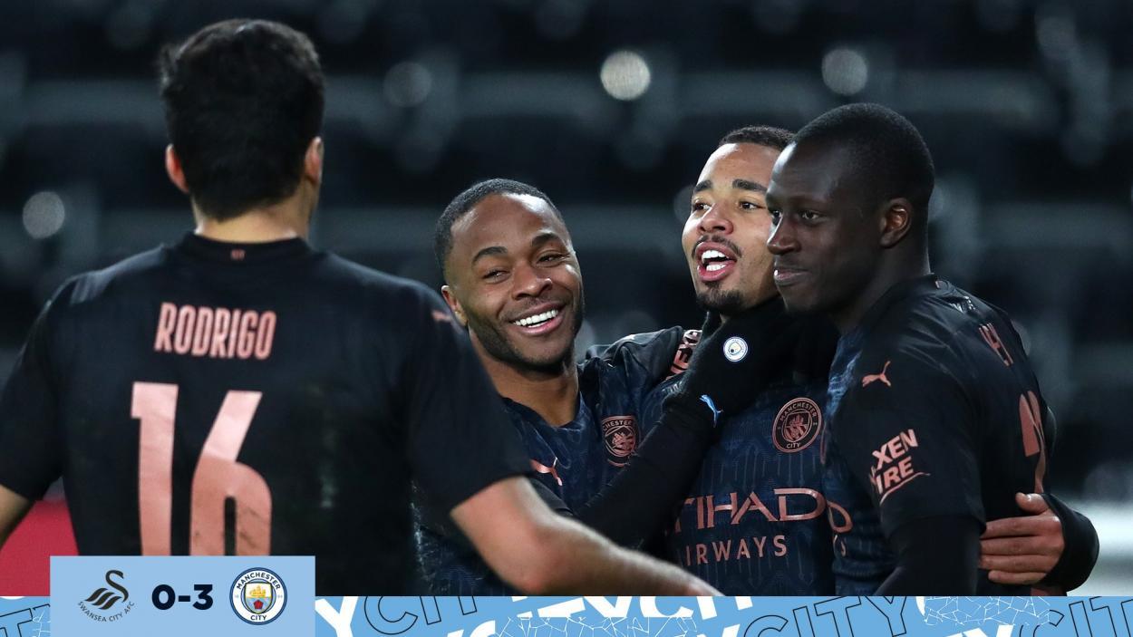 Gabriel Jesús celebra su gol en el partido. |Fuente: @ManCity