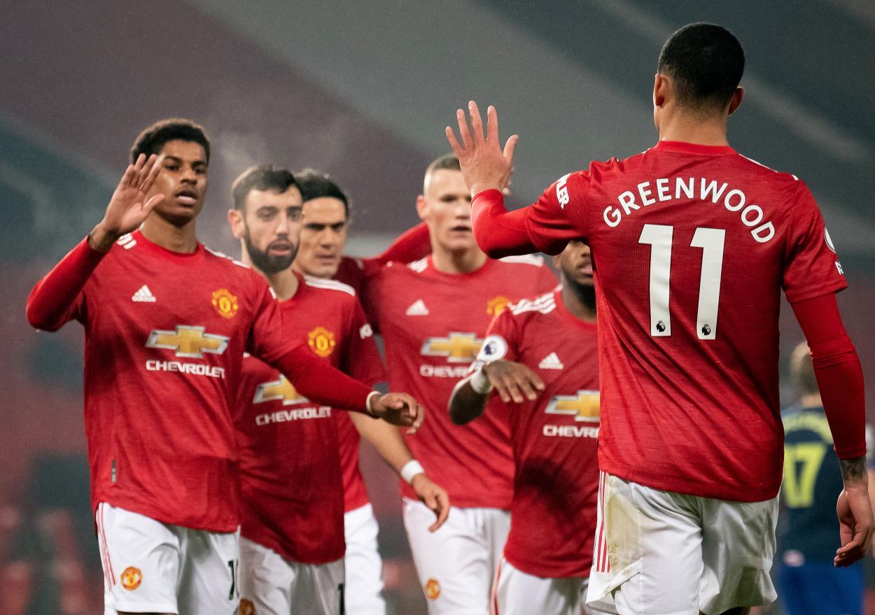 Los jugadores del United celebrando el 2-0 / FOTO: Premier League