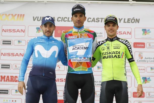 Podio de la Vuelta a Castilla y León 2018. Fuente: Prensa Vuelta a Castilla y León