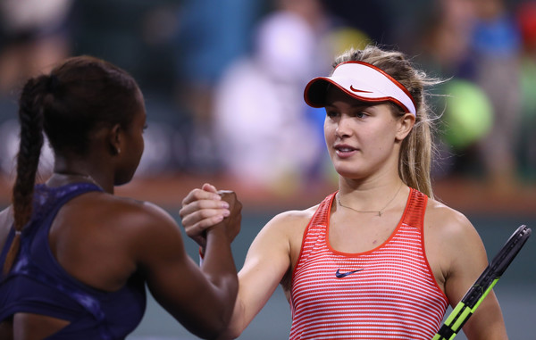 Eugenie Bouchard and Sloane Stephens shake hands after their second round clash. | Photo: Julian Finney/Getty Images North America