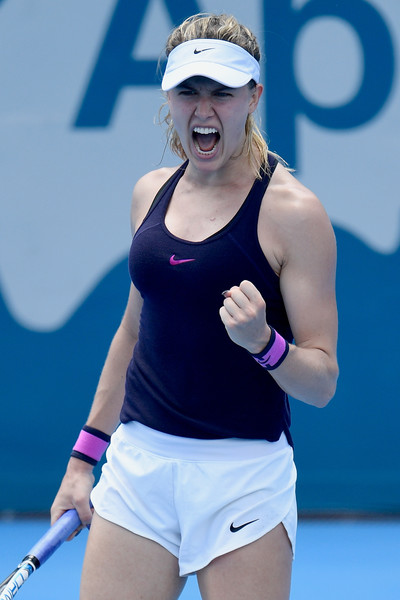 Eugenie Bouchard celebrates after defeating Dominika Cibulkova in the second round of the 2017 Apia International Sydney. | Photo: Brett Hemmings/Getty Images