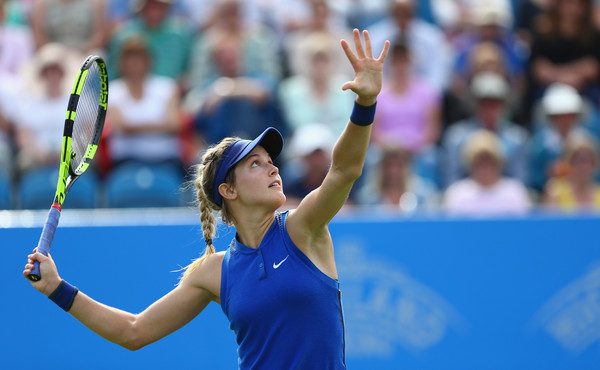 Eugenie Bouchard setting up for a drive-volley. | Photo: Steve Bardens/Getty Images