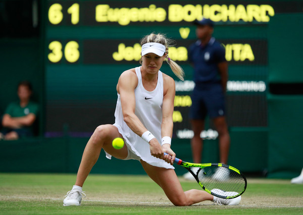 Bouchard hits a backhand in the match against Konta |Photo: Adam Pretty/Getty Images Europe