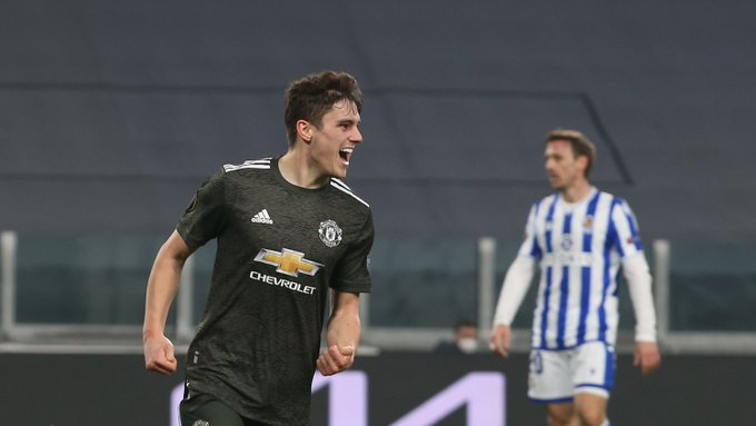 Daniel James comemorando seu gol (Foto: Divulgação/Manchester United)