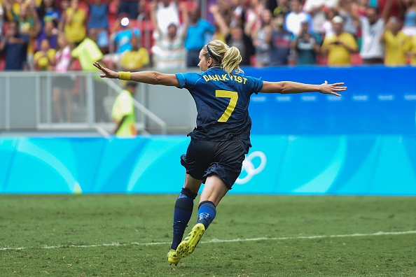Dahlkvist wheels away after scoring the winning penalty to send Sweden into the semis (credit: Evaristo Sa/Getty)