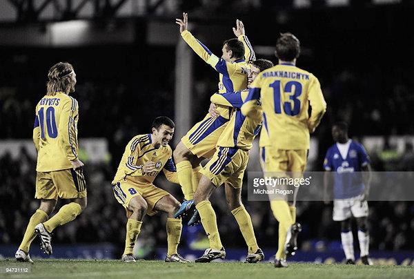 Los jugadores del BATE celebran la victoria en Goodison Park   Foto: Getty Images