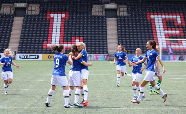 Chloe Kelly, being hugged by her team mates, was in good form last time out | Photo: Everton Ladies.