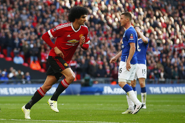 Fellaini opened the scoring for the Reds in the FA Cup semi-final against Everton | Photo: Getty Images