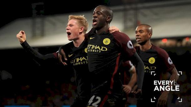 Yaya Toure celebrando su gol ante el Crystal Palace. Foto:Manchester City.