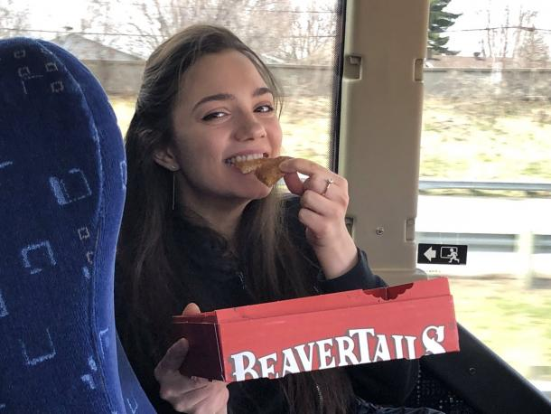 While travelling from Ottawa to Laval for this year's Stars on Ice tour, Medvedeva got the chance to eat her first Beavertail, a classic Canadian fried dough pastry that is shaped like a beaver's tail. | Photo courtesy of Stars on Ice