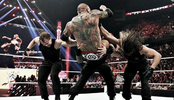 The Shield deliver a triple powerbomb to Batista (image:shield235.rssing.com)