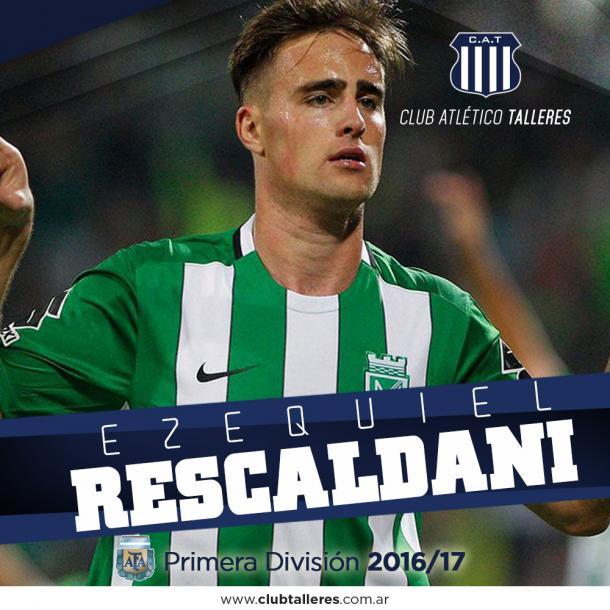 Asi fue presentado Ezequiel Rescaldani en la página oficial de Talleres. | Foto: Talleres de Córdoba