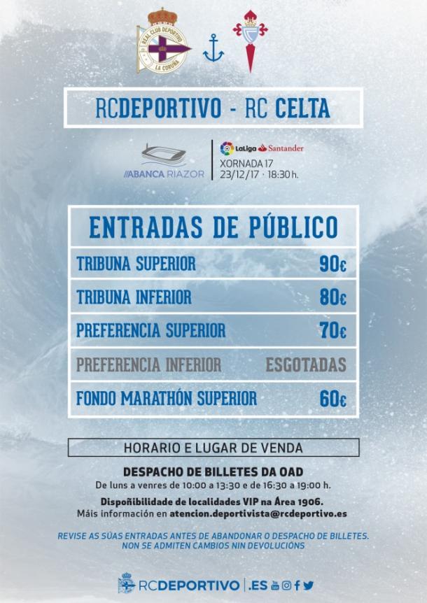 Listado de precios de las entrasas. / Imagen: RCDeportivo