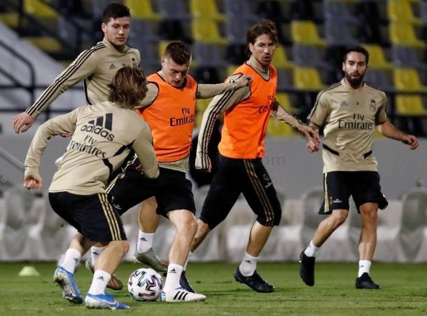 Jugadores del Real Madrid entrenando para la final del domingo. / Fuente: Web Real Madrid