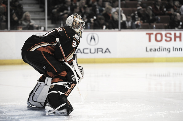 Frederik Anderson takes to the crease in a game between the Anaheim Ducks and Winnipeg Jets. (Jonathan Moore/Getty Images)
