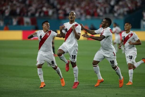 André Carrillo celebrando el primer gol ante Croacia en Miami | Foto: FPF
