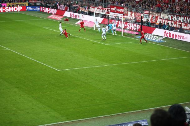Bayern were denied by the woodwork on a regular basis. | Image credit: FC Bayern Munich EN Twitter