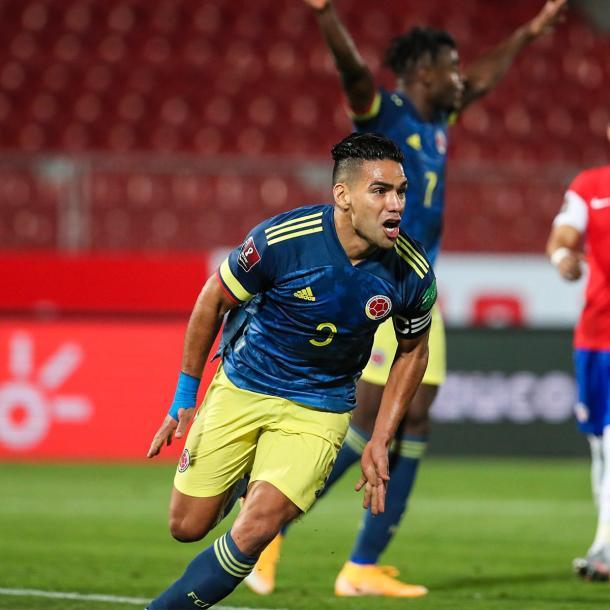 Falcao rescató un punto para Colombia en Santiago. Foto: Selección Colombia Twitter @FCFSeleccionCol