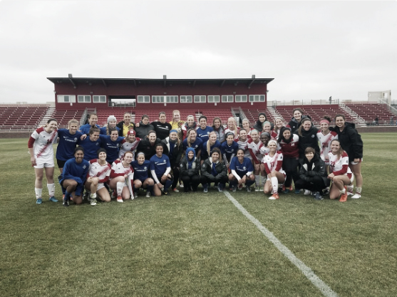 FCKC and Nebraska pose together after their match (Source: FC Kansas City Twitter - @FCKansasCity)