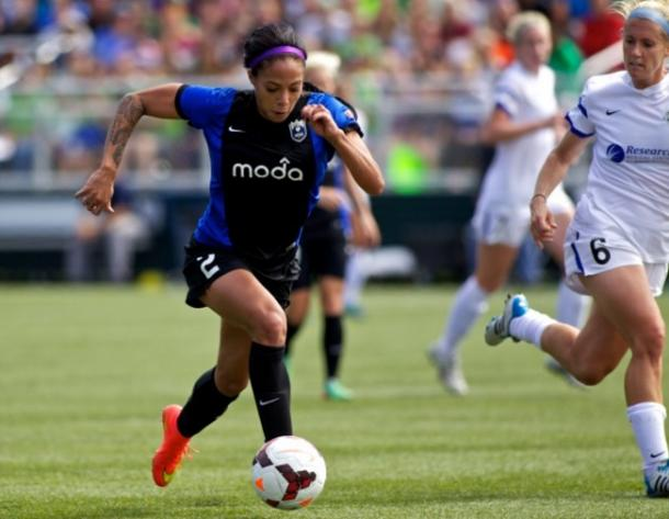 Sydney Leroux during the 2014 NWSL Championship game | Photo by Craig Mitchelldyer