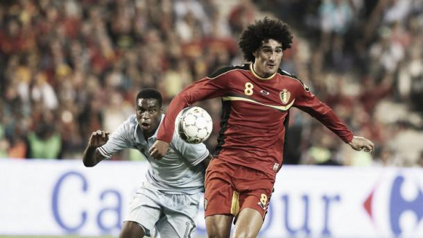 Fellaini battles his way past an opponent for Belgium - Picture: SkySports
