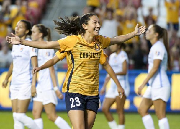 Christen Press put two away against Sky Blue FC on Wednesday night | Source: Leah Hogsten-The Salt Lake Tribune