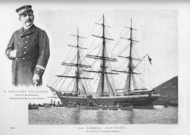 Fernando Villaamil y la corbeta Nautilus (1894) (Wikipedia, DP)