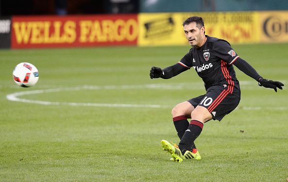 D.C. United forward Fabian Espindola passing the ball. Photo credit: Rob Carr/Getty Images Sport