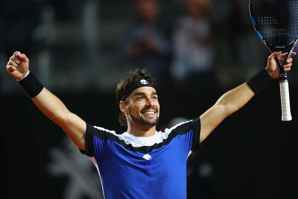 Fognini celebrates his memorable victory over Murray at the Italian Open in May (Photo: Michael Steele/Getty Images Europe)