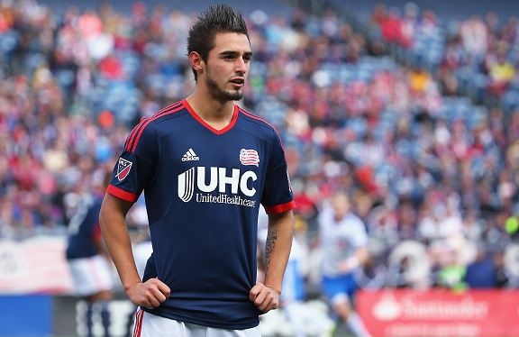 Diego Fagundez #14 of New England Revolution looks on during the first half at Gillette Stadium on March 21, 2015 in Foxboro, Massachusetts. (Photo by Maddie Meyer/Getty Images