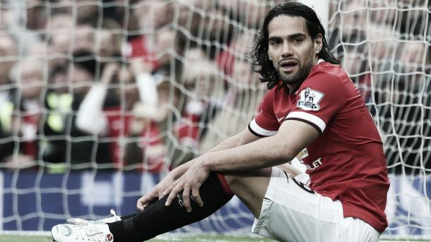 Above: Radamel Falcao during his time at Manchester United as he looks to fight for place at current club Chelsea
