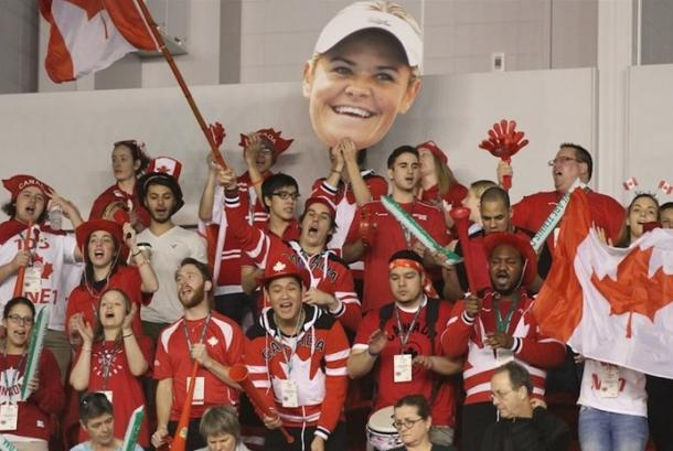 Canadian fans cheer on Wozniak during her victory. Photo: Fed Cup