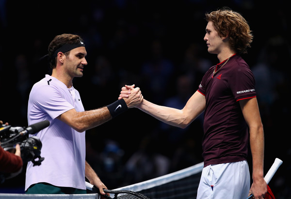Alexander Zverev (right) was 15 years old when Roger Federer was last ranked number one. They've met five times since 2016, including this meeting at the 2017 ATP World Tour Finals. Federer leads their head-to-head 3-2. Photo: Clive Brunskill/Getty Images