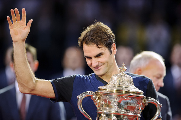 Federer waves after winning Basel back in 2015. Photo: Harold Cunningham/Getty Images