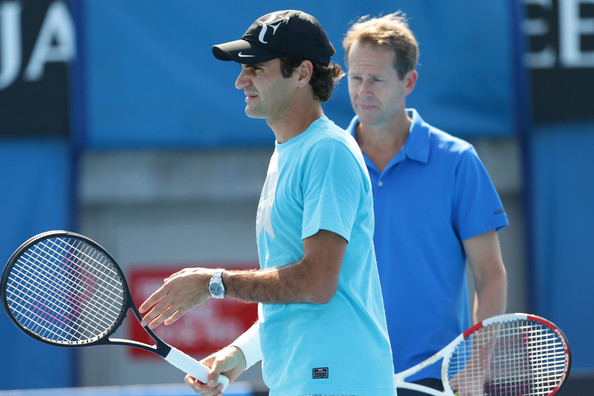 Federer practices in Melbourne during the Australian Open with Edberg. Photo: Matt King, Getty Images/Zimbio