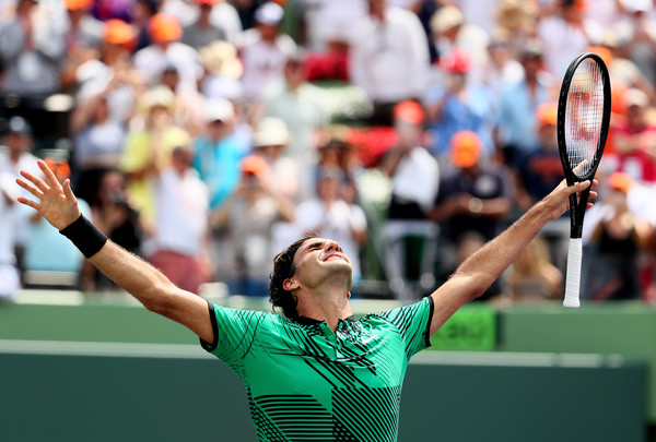 Federer reacts to his victory. Photo: Al Bello/Getty Images