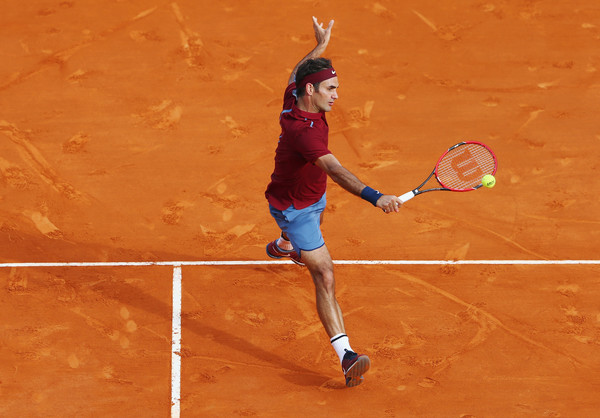 Federer hits a volley in Monte Carlo. Photo: Michael Steele/Getty Images