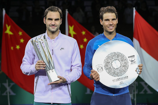 Federer (left) beat Nadal (right) in the Shanghai final last year. Photo: Lintao Zhang/Getty Images