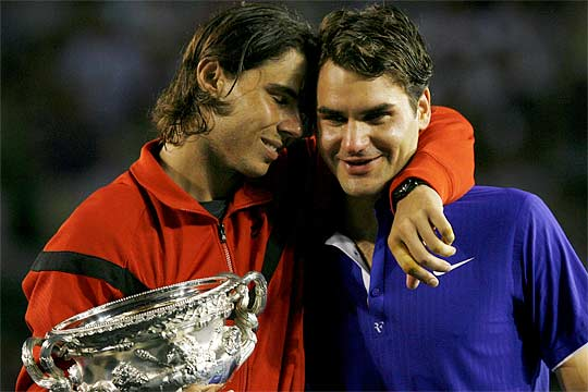 Rafael Nadal (left) and Roger Federer after their 2009 Australian Open final. Photo: Fairfax Media