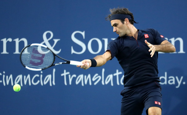 Federer strikes on his mighty forehands on Tuesday night in Cincinnati. Photo: Rob Carr/Getty Images