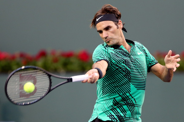 Federer lines up a forehand during his third round win. Photo: Matthew Stockman/Getty Images