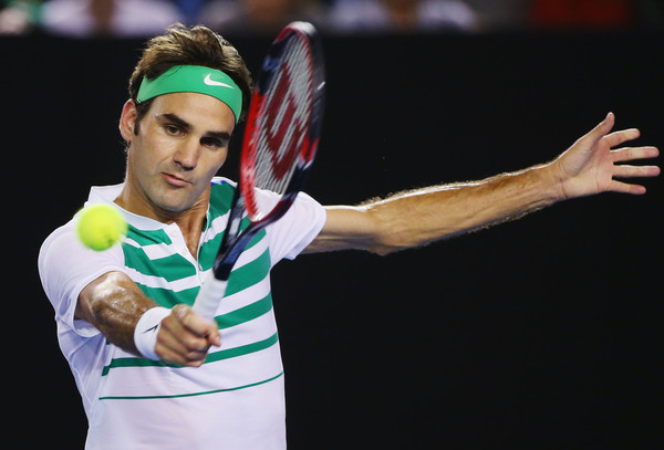 Federer hits a backhand during his semifinal defeat on Thursday. Photo: Michael Dodge/Getty Images