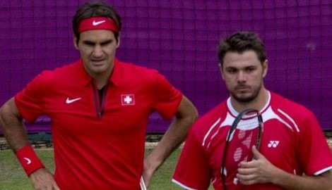 Federer (left) and Wawrinka during their failed 2012 Olympic campaign. Photo: Getty Images