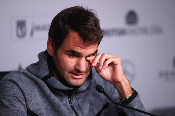 Roger Federer during his press conference announcing his withdrawal from Madrid. Photo: Clive Brunskill/Getty Images