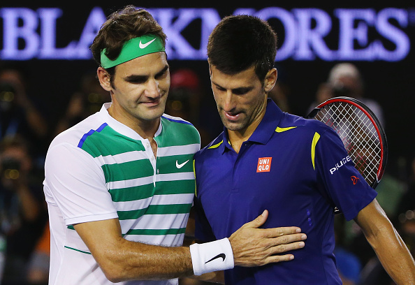 Djokovic and Federer after their most recent meeting (Photo: Getty Images/Michael Dodge)