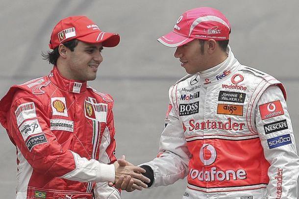 Massa ed Hamilton. Rivalità pura: anno 2008. Fonte foto: mirror.co.uk