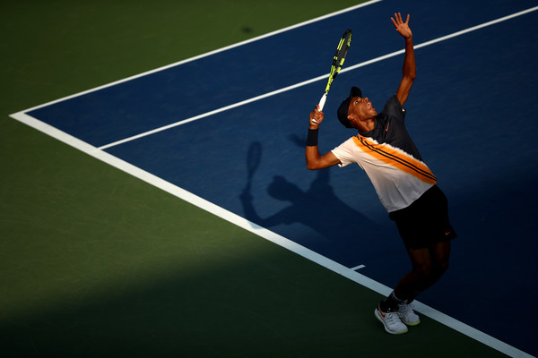 Félix Auger-Aliassime prepares to serve during his first-round match against Denis Shapovalov at the 2018 U.S. Open.   Photo: Julian Finney/Getty Images